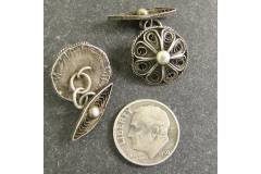 Antique Mens Cuff Links Round Silver Wire Mesh