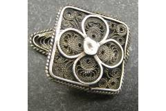 Square Antique Mens Cuff Links Round Silver Wire Mesh