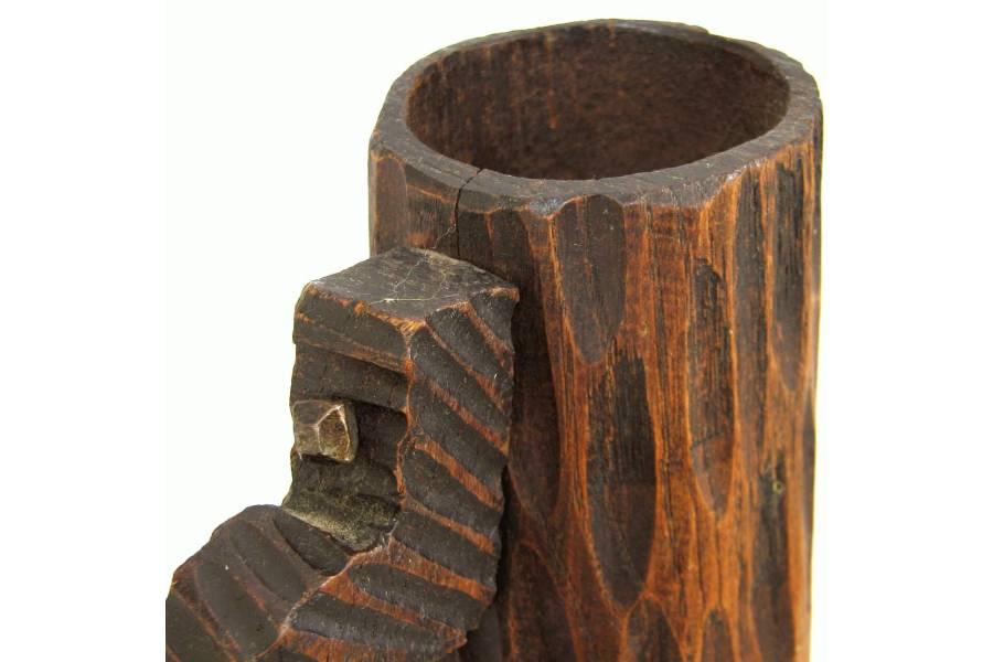Handmade Pen Stand Designs : Vintage pen holder wooden handcarved beer cup